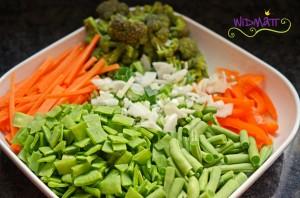 Panang Curry Gemüse geschnitten