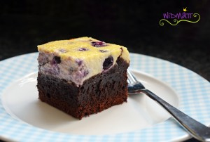 widmatt.ch Brownie Cheesecake mit Heidelbeeren